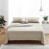 大朴(DAPU)床单家纺 A类床品 精梳纯棉斜纹床单 大双人被单 单件 网格条纹 1.8米床 230*270cm