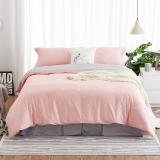 大朴(DAPU)套件家纺 A类床品 精梳纯棉四件套 缎纹印花床单被罩 粉色圆点 1.8米床 220*240cm