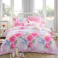 多喜爱(Dohia)床品套件 提花印花四件套 床单款 幸福之约 双人 1.8米床 230*230cm