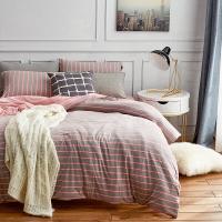 大朴(DAPU)套件家纺 天然新疆针织棉条纹四件套 针织裸睡至爱 床笠式 红灰条纹 1.8米床 220*240cm