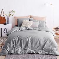 大朴(DAPU)套件家纺 A类床品 精梳纯棉四件套 简约纯色床单被罩 素色 深灰色 1.8米床 220*240cm