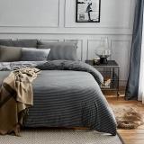 大朴(DAPU)套件家纺 天然新疆针织棉条纹四件套 针织裸睡至爱 床笠式 灰色条纹 1.8米床 220*240cm