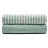 大朴(DAPU)32支新疆阿瓦提A类毛巾两条装 色织合股纱 条纹/素色 浅绿色 130g/条 34*76cm