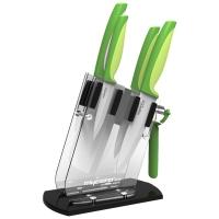 美瓷(MYCERA)陶瓷刀具套装六件套 切菜刀 厨师刀 西瓜刀 瓜果刀(绿色)TQQ01F