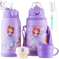 迪士尼(Disney)儿童保温杯男女学生水杯子304不锈钢吸管保温壶直饮卡通杯紫色苏菲亚600ml双盖送杯刷