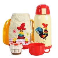 杯具熊儿童保温杯带吸管儿童水杯不锈钢宝宝儿童保温壶学生水杯600ml 升级款-白色小鸡