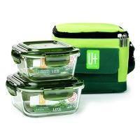 悠佳 绿色耐热玻璃保鲜盒饭盒便当盒2件套烤箱微波炉适用赠保温包3件套餐具