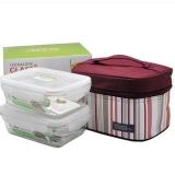 乐扣乐扣(LOCK&LOCK) 保鲜盒 微波炉饭盒便当盒 两件套送便当袋  LLG426S901