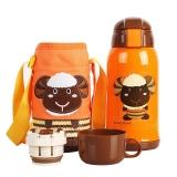杯具熊儿童保温杯带吸管儿童水杯不锈钢宝宝儿童保温壶学生水杯600ml 升级款-橙色小羊