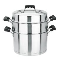 美厨(maxcook)二层蒸锅 不锈钢加厚复底26cm 电磁炉通用 蒸煮两用可叠放 爱家系列MCGJ-AJ026