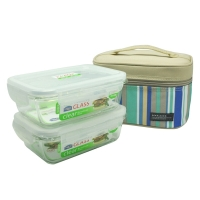 乐扣乐扣(locklock)微波炉饭盒 玻璃套装保鲜盒  LLG426S902