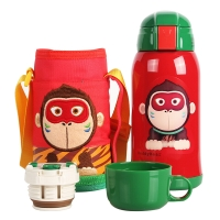 杯具熊儿童保温杯带吸管儿童水杯不锈钢宝宝儿童保温壶学生水杯600ml 升级款-红色小猴