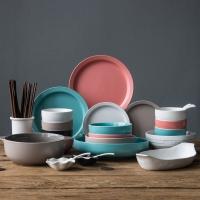 亿嘉IJARL 创意韩式陶瓷餐具碗盘筷家用陶瓷餐具套装送礼 马卡龙 46头
