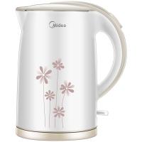 美的(Midea)电水壶WH517E2b 304不锈钢电热水壶 1.7L容量 无缝一体内胆 双层防烫烧水壶(白玉)