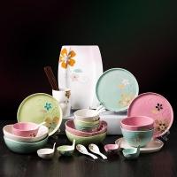 亿嘉IJARL 创意韩式陶瓷餐具碗盘筷家用陶瓷餐具套装送礼 雅韵 36头