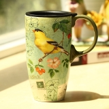 爱屋格林(Evergreen)创意咖啡杯手绘陶瓷杯带盖星巴克式情侣马克杯带盖办公室水杯陶瓷杯子茶杯3LTM1975N