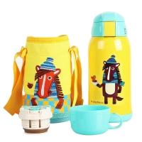 杯具熊儿童保温杯带吸管儿童水杯不锈钢宝宝儿童保温壶学生水杯600ml 升级款-黄色小马