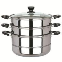 美厨(maxcook)三层蒸锅 不锈钢复底26cm MZB-26(蒸煮两用 可用电磁炉)