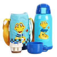 杯具熊儿童保温杯带吸管儿童水杯不锈钢宝宝儿童保温壶学生水杯600ml 升级款-蓝色小蛇