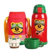 杯具熊儿童保温杯带吸管儿童水杯不锈钢宝宝儿童保温壶学生水杯600ml 升级款-红色小熊