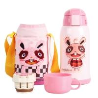 杯具熊儿童保温杯带吸管儿童水杯不锈钢宝宝儿童保温壶学生水杯600ml 升级款-粉色兔子