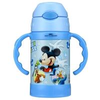 迪士尼(Disney) 保温杯 304不锈钢弹盖儿童无毒吸管水壶带手柄男女宝宝不锈钢水杯 HM1966M 260ML 米奇蓝