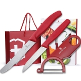 维氏VICTORINOX瑞士军刀厨刀系列 瑞士原产水果刀番茄香肠面包刀刨皮器三件套居家商务礼盒CNKK1511SET喜庆红