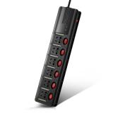 突破(TOP)X系列6位防雷防电涌拖线板/黑色3米分控/TZ-C0726K6-30/插座/插线板/插排