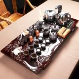 尚帝(shangdi)整套功夫茶具原矿紫砂茶具套装整板雕刻竹木茶盘四合一电热炉自动加水 双龙圣龙黑紫砂19头套装