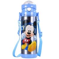 迪士尼(Disney)保温杯 米奇500ML儿童吸管杯背带防漏学饮杯 透明蓝HC2005