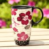 爱屋格林(Evergreen)创意咖啡杯手绘陶瓷杯带盖星巴克式情侣马克杯带盖办公室水杯陶瓷杯子茶杯3LTM5136N