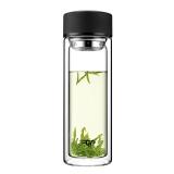 富光 男女士带茶隔 便携创意双层泡茶玻璃水杯 320ml 雅黑(WFB1013-320)