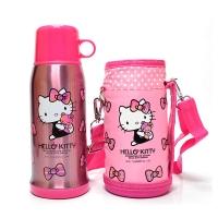 Hello Kitty 凯蒂猫婴儿童保温水杯 畅游休闲直饮水壶(含杯套)600ML 透明粉