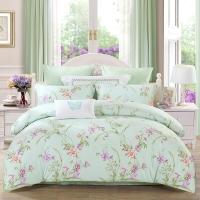水星家纺(MERCURY) 床上用品四件套纯棉 全棉斜纹印花被套床单 笑靥如花 加大双人1.8米床
