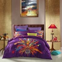 SAINTMARC罗莱生活出品 贡缎纯棉四件套 全棉床品套件床上用品床单被套 幻彩之羽SED5282-4 尚玛可200*230