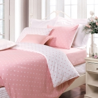 富安娜家紡床上用品簡約波點全棉四件套 玻璃球 1.5米床適用(203*229cm)粉色