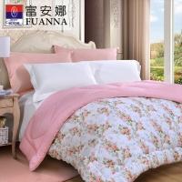 富安娜家纺 床上用品 纯棉印花冬厚被子 清雅汐颜 1.8米床适用(230*229cm)粉色