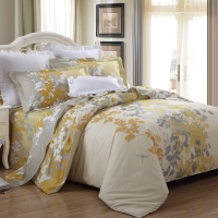 LUOLAI罗莱家纺 纯棉四件套 全棉床品套件床上用品床单被套 金秋WA5023-4 黄 220*250