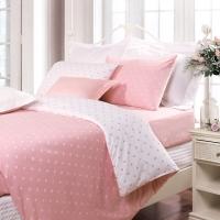 富安娜家紡床上用品簡約波點全棉四件套 純棉床單被套 玻璃球 1.8米床適用(230*229cm)粉色