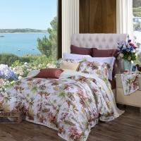 富安娜(FUANNA)家纺床品套件 60支贡缎天丝床上四件套 夏凉床单被套 轻舟泛月1.5米床适用(203*229cm)黄