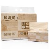 顺清柔 抽纸 共享本色3层120抽*6包原色木浆抽取式面巾纸(小规格)