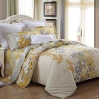 LUOLAI羅萊家紡 純棉四件套 全棉床品套件床上用品床單被套 金秋WA5023-4 黃 200*230