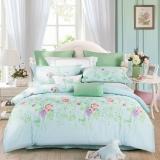 水星家纺(MERCURY) 床上用品四件套纯棉 全棉斜纹印花被套床单 轻风雅苑 加大双人1.8米床
