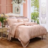 富安娜家纺高档丝棉素雅提花四件套 床上用品霓裳曲 1.8米床适用(230*229cm)粉色