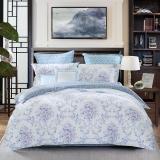 水星家纺(MERCURY) 床上用品四件套纯棉 全棉斜纹印花被套床单 苏菲娜拉 加大双人1.8米床