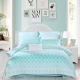 水星家纺(MERCURY) 床上用品四件套纯棉 全棉斜纹印花被套床单 初夏之音(浅蓝) 加大双人1.8米床