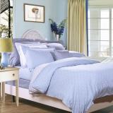 富安娜家紡床上用品簡約波點全棉四件套 玻璃球 1.8米床適用(230*229cm)淺藍色