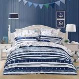 水星家纺 全棉斜纹印花卡通床上三件套扬帆起航 床上用品床单被罩 1.2米床