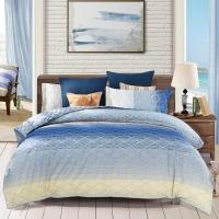水星家纺 全棉四件套纯棉 床上用品套件床单被罩被套简约格纹 双人1.8米床 蓝调生活