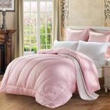 水星家纺(MERCURY) 澳洲羊毛春秋被子床上用品 粉色双人被芯200*230cm